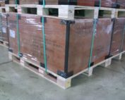 shrink-wrapped crates